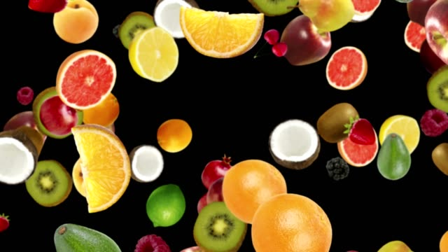 Falling FRUITS Background, Loop, with Alpha Channel video