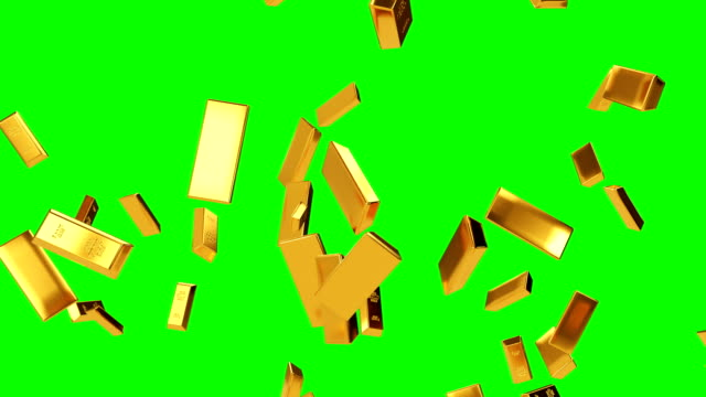 Falling Gold Bars Green Screen 4K Resolution, Ingot, Gold gold bars stock videos & royalty-free footage
