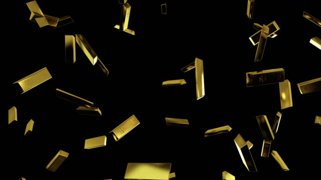 Falling gold bars in slow motion on black isolated background with luma matte. 3D render, seamless loop animation in 4k Falling gold bars in slow motion on black isolated background with luma matte. 3D render, seamless loop animation in 4k ingot stock videos & royalty-free footage