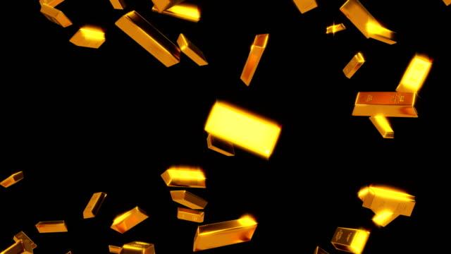 stockvideo's en b-roll-footage met vallende gouden staven luma matte lus - goudstaaf