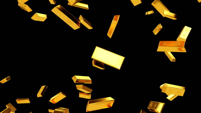 Falling Gold Bars Luma Matte Loop 4K Resolution, Ingot, Gold gold bars stock videos & royalty-free footage