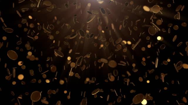 falling golden coins - монета стоковые видео и кадры b-roll