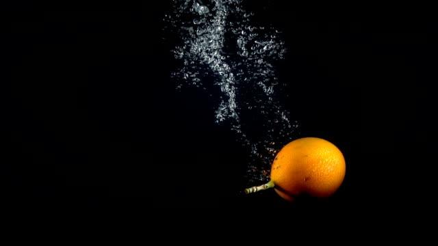 falling granadilla in the water on black background - video di passiflora video stock e b–roll