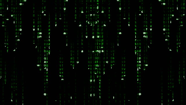 falling green matrix code - crittografia video stock e b–roll