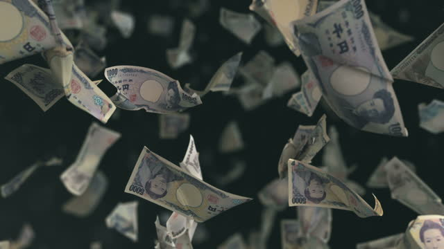 Falling Japanese Yen currency 4K Loop High quality falling Japanese Yen Currency in 4K. Video is Loop bankruptcy stock videos & royalty-free footage