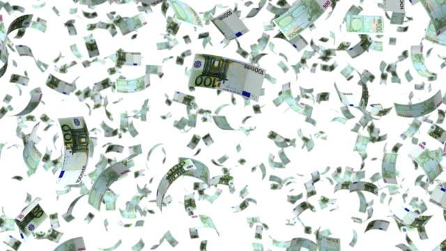 falling money - valuta dell'unione europea video stock e b–roll