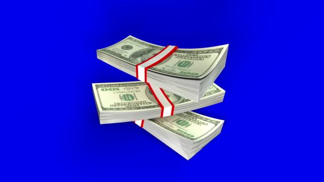 クロマキー別々に4kで米ドルマネーの落ち込み山 - 紙幣点の映像素材/bロール