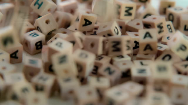 Falling random letter cubes video