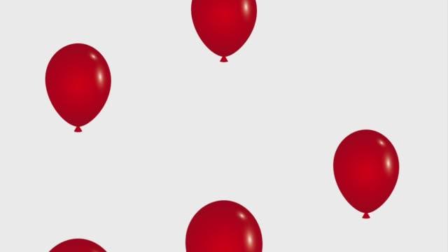 caída globos rojos blanco animación viernes de fondo negro hd - vídeo
