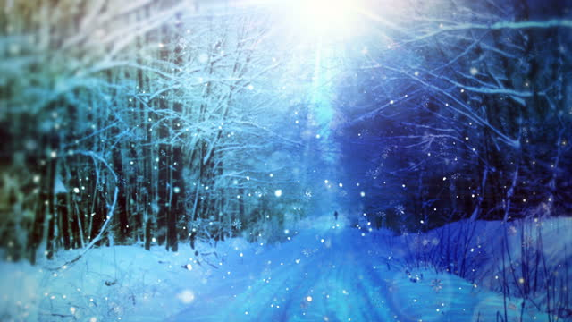 Falling snowflakes animation background loop