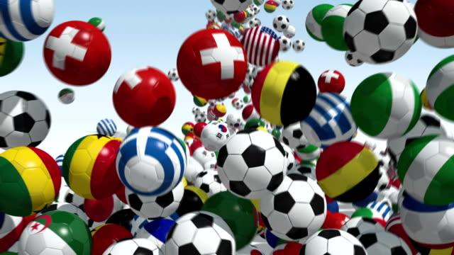 falling soccer balls - campionato video stock e b–roll