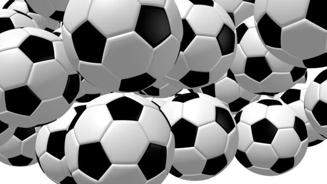 3D falling soccer/ footballs video