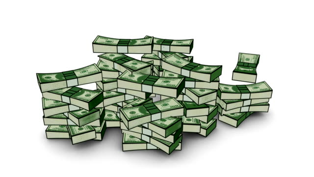 Falling stacks of american money video