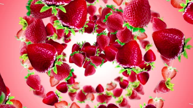 vídeos de stock e filmes b-roll de falling strawberries background, loop, with alpha channel - strawberry