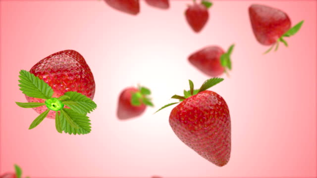 Falling Strawberries background pink video