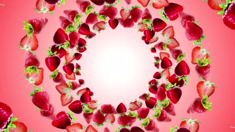 vidéos et rushes de chute de fraises bague fond, boucle, avec un canal alpha - fraise