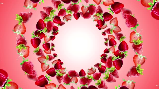 vídeos de stock e filmes b-roll de falling strawberries ring background, loop, with alpha channel - strawberry