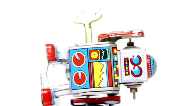 떨어지는 주석 완구류 로봇 주요 - 완구류 스톡 비디오 및 b-롤 화면