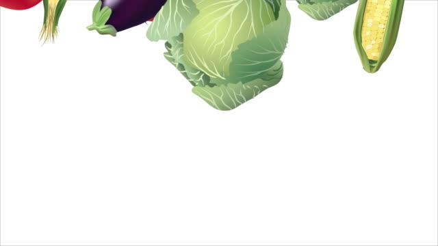 Falling Vegetables on White