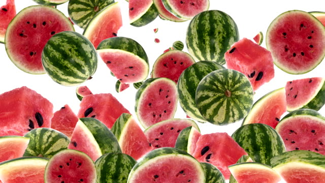 Falling Watermelon as background video (with Alpha) Falling Watermelon as background video with black Alpha video (from 0:15 to 0:30) watermelon stock videos & royalty-free footage