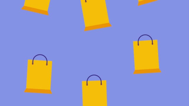 falling yellow shopping paper bags icon vector ilustration - borsa della spesa video stock e b–roll