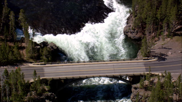 Falls By Grand Loop Road  - Aerial View - Wyoming,  Park County,  helicopter filming,  aerial video,  cineflex,  establishing shot,  United States video