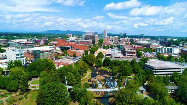 Falls Park in Downtown Greenville South Carolina Aerial Falls Park in Downtown Greenville South Carolina Drone Aerial Flyover south carolina stock videos & royalty-free footage