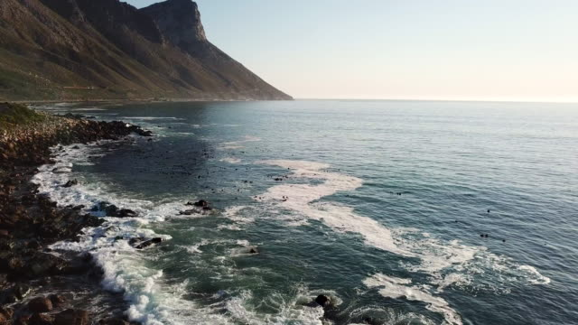 False Bay, Cape Town Aerial view over a sea near Cape Town, South Africa cape peninsula stock videos & royalty-free footage