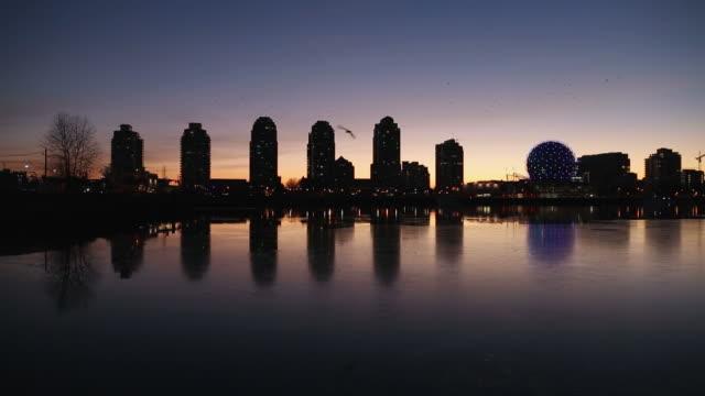 False Creek Vancouver Skyline, Winter Sunrise video