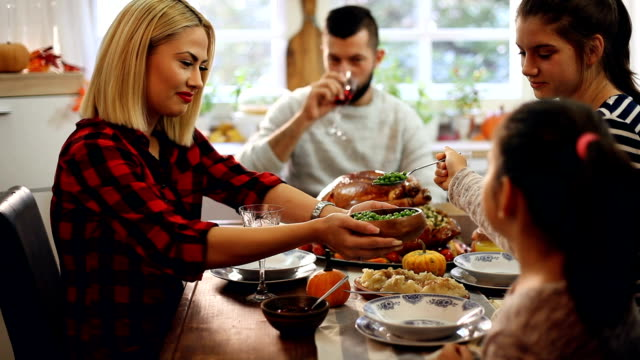 Families Have a Traditional Holiday Dinner