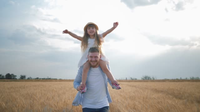 family amusements in field, happy young dad with little kid girl in straw hat on his shoulders which spreads her hands to sides runs and laughs in harvest seasonal grain wheat meadow - riso cereale video stock e b–roll