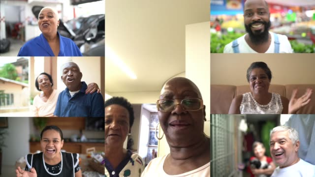 family and friends happy moments in video conference at home - video call with family stock videos & royalty-free footage
