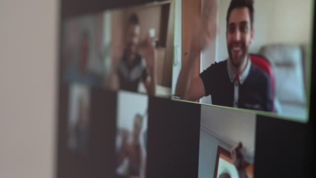 Family and friends happy moments in video conference at home Family and friends happy moments in video conference at home zoom call stock videos & royalty-free footage