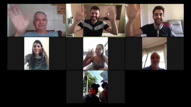Family and friends happy moments in video conference at home Family and friends happy moments in video conference at home multiple image stock videos & royalty-free footage