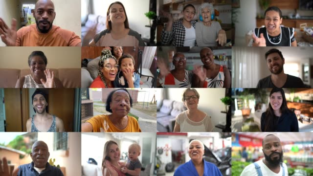 Family and friends happy moments in video conference at home Family and friends happy moments in video conference at home multi ethnic group stock videos & royalty-free footage