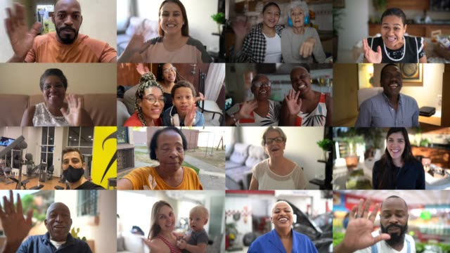 vídeos de stock e filmes b-roll de family and friends happy moments in video conference at home - cortejar