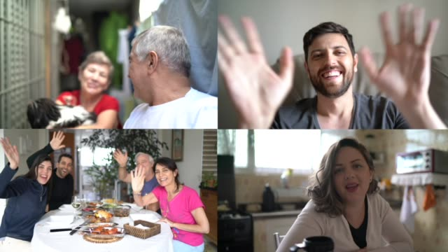 Family and friends happy moments in video conference Family and friends happy moments in video conference zoom call stock videos & royalty-free footage