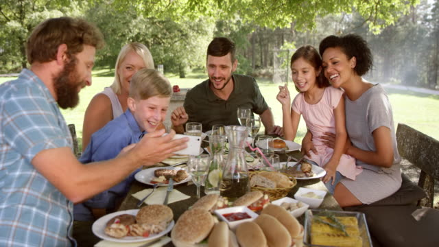 SLO MO Family at a picnic looking at a smartphone picture Slow motion wide handheld shot of a family sitting at the table at picnic, looking at a picture on the smartphone and smiling. hot dog stock videos & royalty-free footage