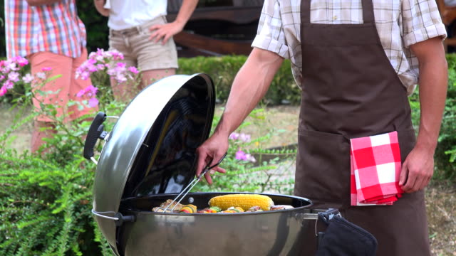 Family at Barbeque in a garden video