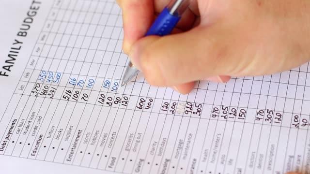 familie budgetierung. monatliche ausgaben - haushaltskosten stock-videos und b-roll-filmmaterial