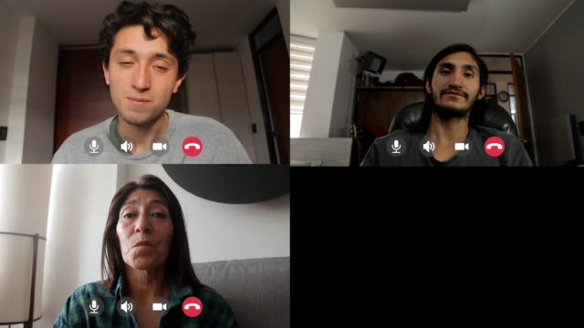 family celebrating a birthday in quarantine - video call with family video stock e b–roll