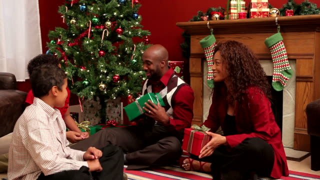 Family celebrating Christmas video
