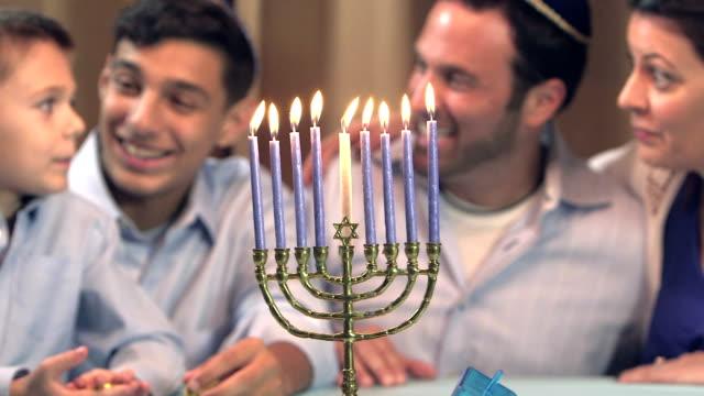Family celebrating Hanukkah video