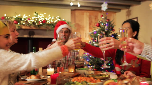 family cheering at the dinner table - cena natale video stock e b–roll
