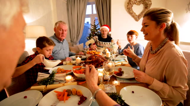 family christmas dinner - cena natale video stock e b–roll