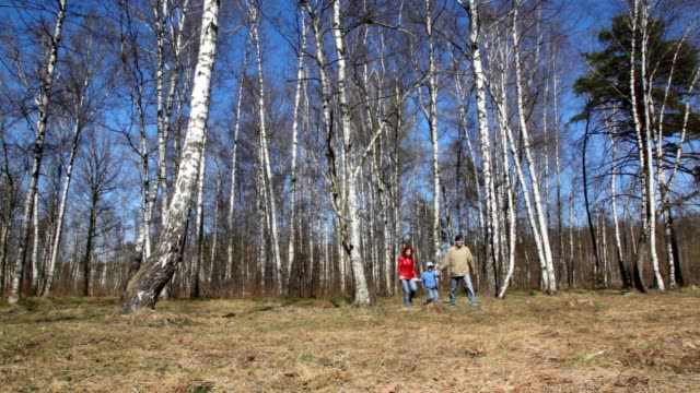 Family comes to camera in spring forest video