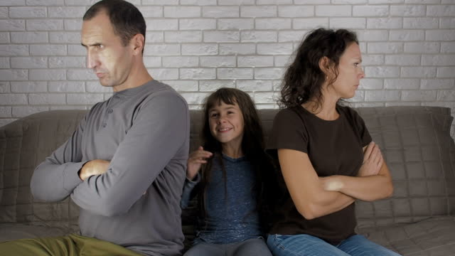 family conflict. parents in a quarrel. - divorce video stock e b–roll