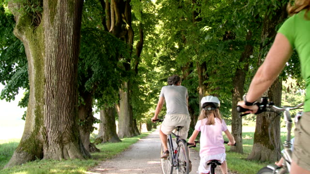 HD CRANE: Family Cycling Down A Tree Lined Road video