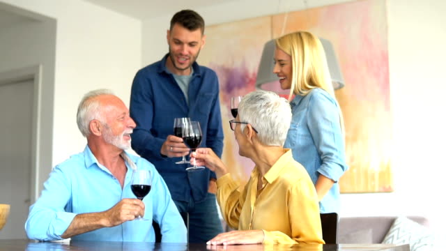 Family drinking wine Happy family drinking red wine boyfriend stock videos & royalty-free footage
