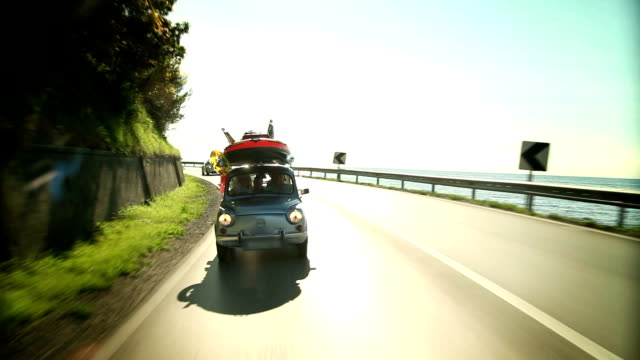 HD WIDE: Family driving toward summer holiday video